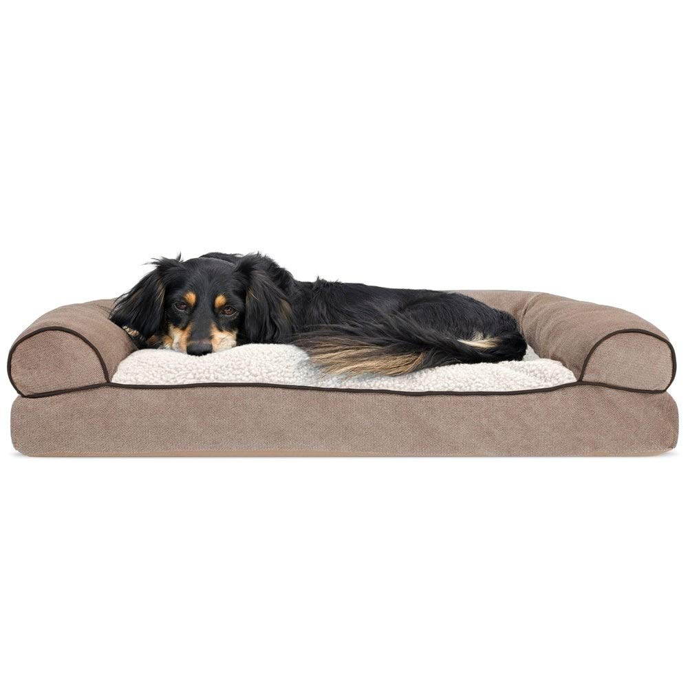 MattsGlobal Pet Bed Deep Dish Curly Faux Fur Plush Donut Dog Bed