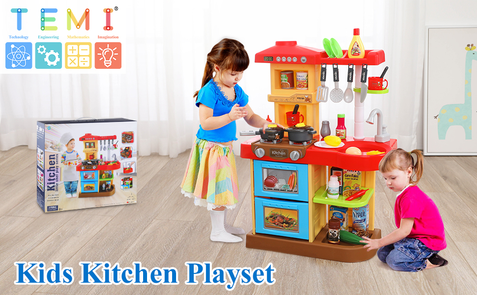 TEMI 34 PCS Kids Kitchen Playset